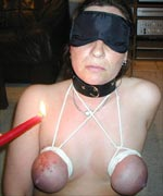 Sexy mature lady has hotwax dripped across her tits