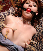 Ava Allure is bound, gagged with a red ball gag and teased with clothes pegs on her breasts