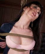 Wonderful classic rope bondage. Gorgeous brunette Scarlett is tied and suspended