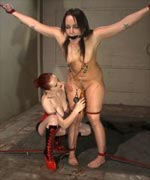 The result is hot BDSM lesbian sex with a punished submissive and a latex-clad, smoking-hot Mistress that shows no mercy in the pain play, forced orgasms or receiving her own pleasure.