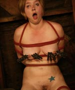Star is subjected to breast bondage, electro punishment, clothes pins, whipping and strap on sex at the hands of Chanta Rose in this hot lesbian punishment scene