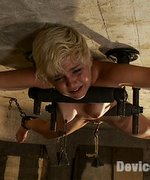 Angel-faced Chloe Camilla bolted to the ceiling in severe metal bondage, spread like a whore, abused, sprayed down and suffering from brutal orgasms