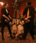 The House slaves are wrapped up, tied down, and left to hang in this bondage service session
