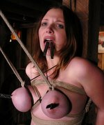 Shaved busty 19 year old, gets her huge tits tied up and abused