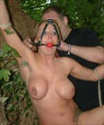 English Slavegirl Gina Tied and Tormented Outdoors in the Garden