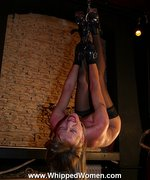 Extreme hard suspension whipping and punishment of a beautiful blonde