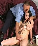 Hot brunette slave is forced to climax